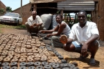 Mike and his briquettes when drying