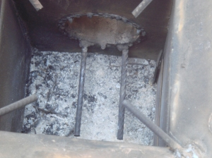 Briquette rests in the combustion chamber
